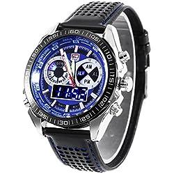 Leopard Shop TVG 568 Digital Military Wristwatch Quartz Double Movt Men Watch Day Alarm Leather Band Luminous LED Display Chronograph Blue