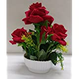 Ethnic Karigari Decorative Beautiful Indoor Natural Looking Red Roses Flower Vase for Office, Drawing Room and Corner Shelves and Living Room