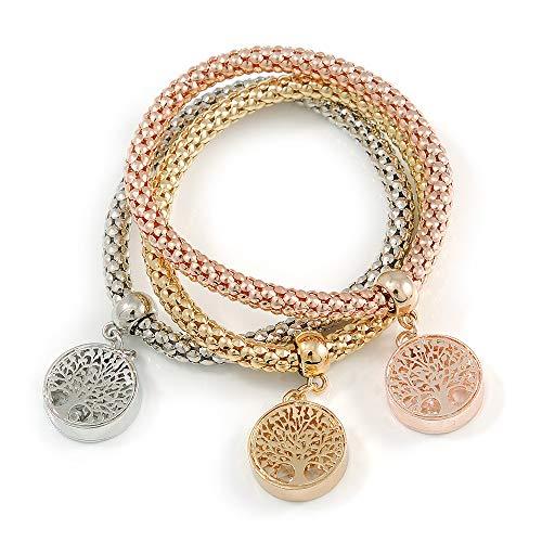 Unbekannt Avalaya 3er Set Dicke Mesh Flex Armbänder mit rundem Baum des Lebens Charm in Gold/Silber/Rotgold - 19 cm L