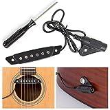 silenceban Schallloch Schwarz Akustische Gitarre Pickup mit Schraubendreher und Active Power Jack für Akustik Gitarre