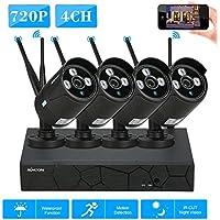 KKmoon 4CH NVR WiFi CCTV Kit + 4x IP Cámara HD 720P Wifi Exterior Impermeable P2P IR Visión Nocturna para Android/iOS APP Detección de Movimiento para Vigilancia Hogar