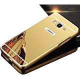 Sunroyal® para Samsung Galaxy Grand Prime G530 G530H G5308 High Quality Funda Aluminio Trasera Protectora PC Bumper Ultra Delgado Slim Hard Phone Case Cover de Mirror Oro Metal + Espejo Tapa Cover Shell Protector Cubierta Chic Stylish Dorado Carcasa