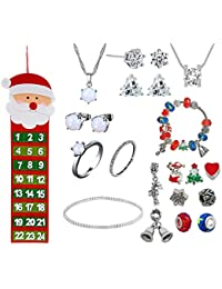 Christmas 2018 Advent Calendar Jewellery Jewelry 24 Days Countdown Made with Crystals From Swarovski Women Girls Xmas DIY Charm Bracelet Necklace Earrings Stud Ring Anklet Bracelet Gift