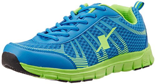 Sparx Men's Royal Blue and Fluorescent Green Running Shoes - 7 UK