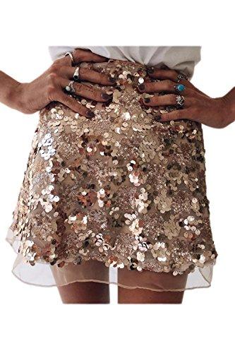 Frauen Heißen Hohe Taille Pailletten A - Line Umfasst Mini - Röcke. Gold S