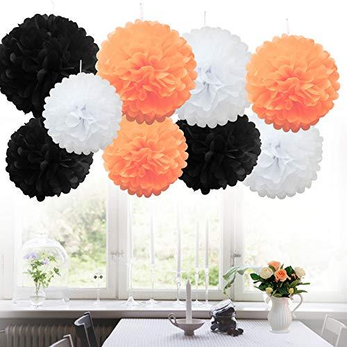 (9 Stück MIX Seidenpapi PomPoms PomPons Blumen Hochzeit Party Dekoration (9X Poms-Halloween Shade))