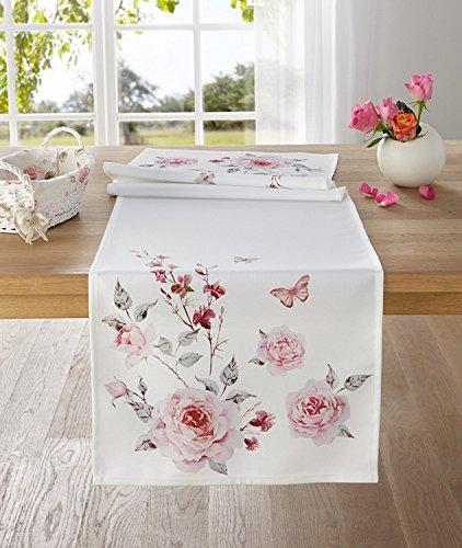 TFH Tischläufer Rosen Ostern rosa weiß Tischdecke Blumen Blüten Schmetterling Frühling Sommer ausgefallen modern...