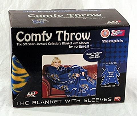 NCAA Memphis Tigers Comfy Throw, Blanket with Sleeves Repeat Design by Northwest