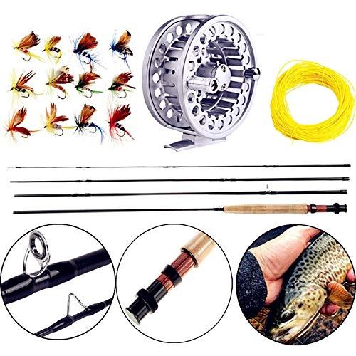 # 06.05 Fly Fishing Rod Set 2.7M Fliegenrute und Fliegenrolle Combo mit Fischköder Linie Box Set Angelruten-Gerät, Weiss