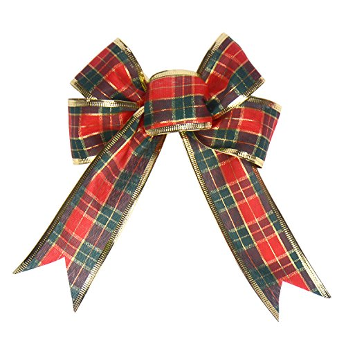 Gardeningwill 620,3cm Schottland Plaid Weihnachten Schleife Xmas Tree Kränzen Decor Ornament (Gold Tree Garland)