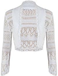 Neuf À Manches Longues Femmes Crochet Haut Boléro Femmes Uni Court Cardigan Tricot Ouvert Haut