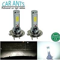 Car Ants Iluminación automática Chips de COB extremadamente brillantes, H1, H3, H4, H7, H8 / H9 / H11.H10 9005,9006 (HB4), 30W 1400LM Bombillas de luz LED antiniebla, color blanco frío Plug-n-Play (H7)(paquete de 2)