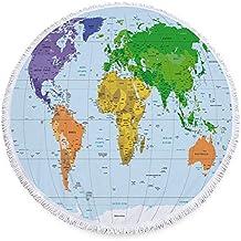SATAJNN Toalla de Playa Mapa del Mundo de Tela de Microfibra Grande Redonda Toalla de Playa