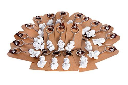 100 piccoli angioletti con etichetta o bigliettino per il nome, segnaposto o bigliettino per regalo; portachiavi come regalo per gli ospiti o regalino da matrimonio, comunione, battesimo o compleanno; decorazione da tavola bella ed esclusiva.