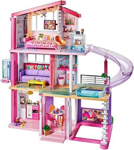 Barbie - Casa dei Sogni con 8 Stanze Incluso il Garage, Piscina, Ascensore e Accessori Trasformabili, Multicolore, FHY73