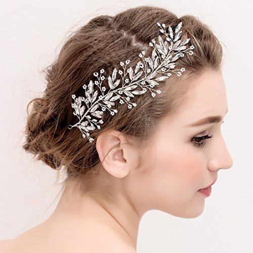 Silver Braut Rebe Stirnbänder Bead Blumen und Kristall Hochzeit Haarteile Haarschmuck -
