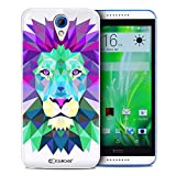 Caseink Coque Housse Etui HTC Desire 620 [Crystal HD Polygon Series Animal - Rigide - Ultra Fin - Imprimé en France] - Lion