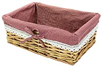 east2eden Honey Wicker Shallow Storage Display Basket Box with Red Gingham Lace Liner (Large)