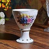 Kiteshaser Tazza in Ceramica Bianco Retro Tazza in Ceramica Coppa Gelato Coppa Rosa Calice Collezione Home Office 280ML + -