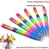 GMYANYZB Kugelschreiber Baustein Kinder Bleistift Spielzeug Geschenk Multifunktions Bunte Stacker Swap Bleistifte Schule Bürobedarf Schreibwaren
