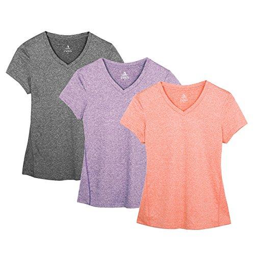 icyZone® Damen Sport T-Shirt Running Fitness Shirts Sportbekleidung Kurzarm Oberteile Shortsleeve Top (L, Charcoal/Lavender/Peach) (Sleeve-damen Laufshirt)