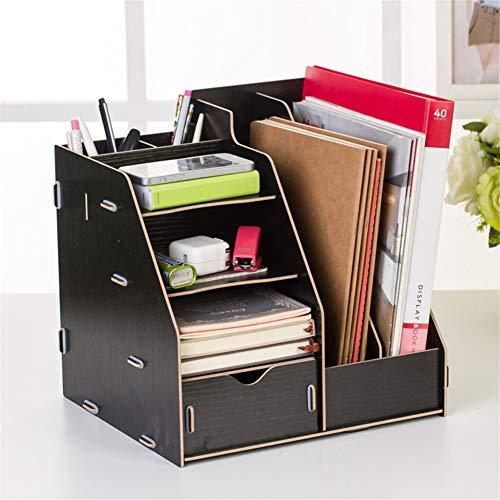 WYN Schreibtisch-Regal Book Shelf Desktop-Bücherregal Schreibtischablage Einfach Platzsparend Büro zu Hause,Black -