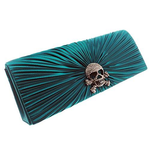 Mesdames sac à main d'embrayage avec un design élégant avec un crâne en couleurs élégantes de satin de velours Vert