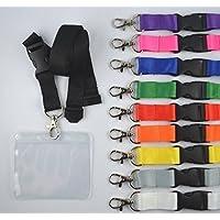 Llavero con cinta sin impresión con funda para carné horizontal de PVC blando - ancho 20 mm - cierre de seguridad (10 unidades) - gris