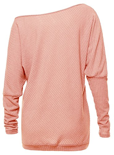 Meyison Bat Sleeves Casual Knit Pullover Off Shoulder Tops Damen Rosa
