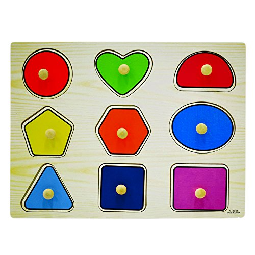 AsianHobbyCrafts Wooden Educational Board Puzzle Toy for Kids: Geometrics Shapes