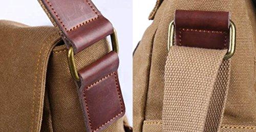 Herren Taschen Retro Leisure Schultertasche Canvas Student Schultasche Messenger Bag Rucksack Mode Handtaschen Khaki