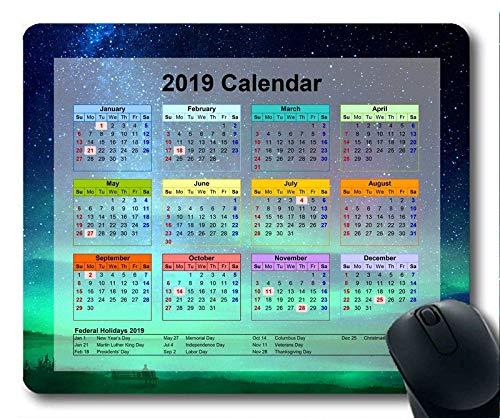 Kalender 2019 mit wichtigen Feiertagspads, Mausunterlage, Sternenhimmel Gaming-Mauspad