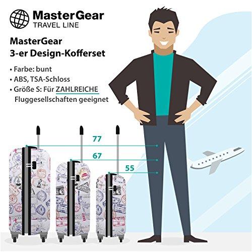 MasterGear 3er Design Kofferset | 4 Rollen (360 Grad) | Trolley, Reisekoffer, Hartschalenkoffer, ABS, Zahlenschloss, stapelbar | Bunt 3er Set