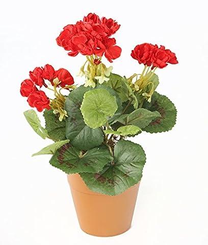 Closer2Nature Artificial 24cm Red Zonal Geranium Plug Plant - Pot