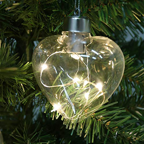 6 x Christmas Tree Baubles Heart Shape Hanging Glass Baubles with Warm White LED Lights for Xmas Tree Holiday Party Festival Decoration (White Xmas Tree)