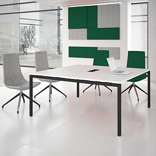 NOVA Konferenztisch 160x164cm Weiß mit ELEKTRIFIZIERUNG Besprechungstisch Tisch, Gestellfarbe:Anthrazit