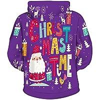 Xinxinyu 3D Impreso Navidad Sudadera   Otoño Invierno Casual Camisa Pareja Hoodies   Manga Larga Pullover Bolsillo Blusas Capucha con Adjustable Cordón (M, Púrpura)