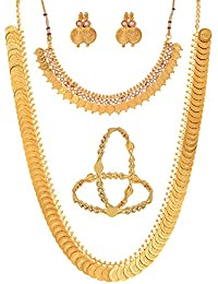 Zeneme Gold-Plated Chain Necklace With Earrings , Bangle Set & Temple Coin Chain Necklace For Women/Girls