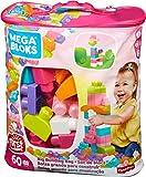 Mega Bloks Juego de construcción de 60 piezas, bolsa ecológica rosa, juguetes bebé +1 año (Mattel DCH54)