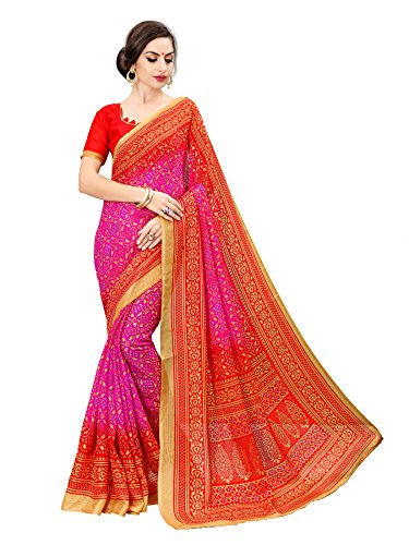Glory Sarees Women's moonga cotton saree(bandhanisaree1_pink_pink)