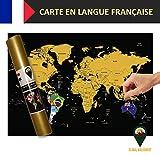 Global Walkabout française–Carte à gratter avec des Drapeaux en arrière-Plan–Affiche de Voyage de Luxe–Pays et Faits–Cadeau de Voyage–Tour du Monde (Noir)