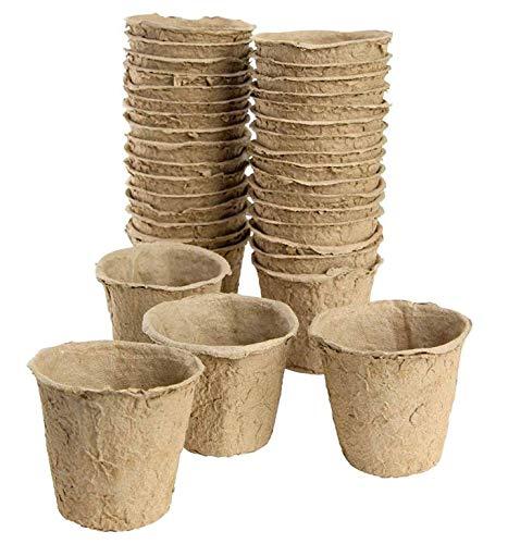 Lot de 48 pots (16 x 3 confections) biodégradables pour la propagation des plantes, Ø 8 cm