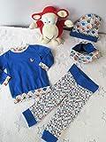 Kleiderset Babyhose, Pullover, Mütze und Loop blau mit Füchsen (Gr. 62-68)