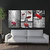 LA VIE 3 Teilig Wandbild Gemälde Hochwertiger Leinwand Bilder Einsamer Roter Regenschirm Poster Drucken Moderne Kunstdruck für Zuhause Wohnzimmer Schlafzimmer Küche Hotel Büro Geschenk