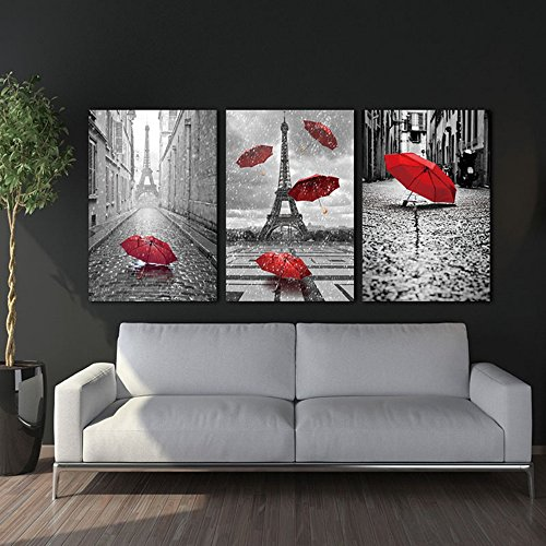 LA VIE 3 Teilig Wandbild Gemälde Hochwertiger Leinwand Bilder Einsamer  Roter Regenschirm Poster Drucken Moderne Kunstdruck Für Zuhause Wohnzimmer  ...