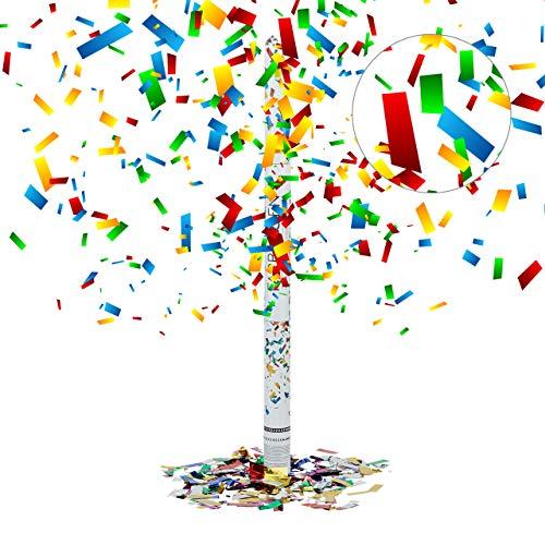 Relaxdays Cannone Sparacoriandoli 80 cm, Idea Regalo, Decorazione per Feste e Carnevale, Gittata di 6-8 m, Colorato, 5x5x80 cm