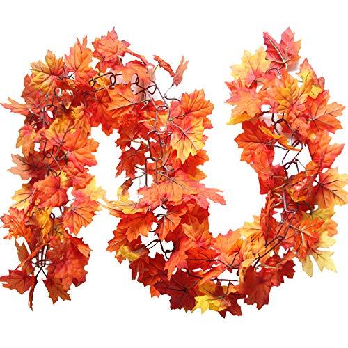 Girlande-Schnurlichter der Ahornblätter,AmaMary 1.7M LED beleuchtete Fall Herbst Kürbis Ahorn Blätter Girlande Halloween Weihnachtsdekor