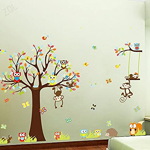 Forest Woodland Animals Owl Birds hanging Monkey Squirrel Fox Hedgehog Colorful Tree Art Wall Stickers Decal for Home Decorations Removable Repositionable Kids Bedroom Wall Sticker Decor