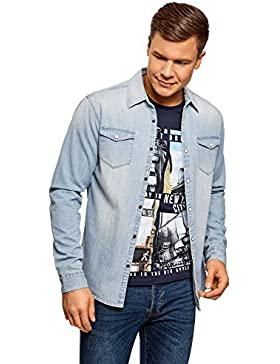 oodji Ultra Uomo Camicia in Jeans con Bottoni a Pressione
