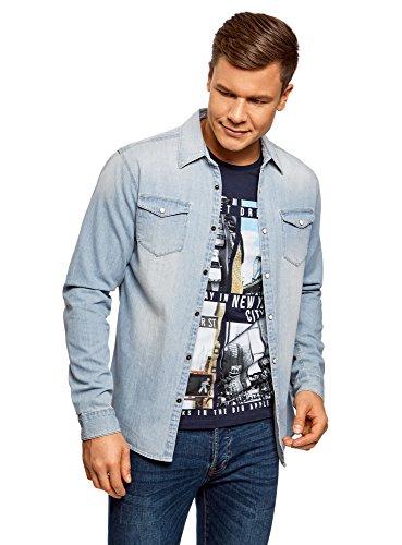 Oodji ultra uomo camicia in jeans con bottoni a pressione, blu, it 44-46/eu 46-48/s
